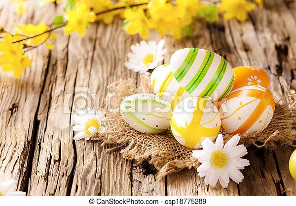 drewniany, jaja, wielkanoc, powierzchnia - csp18775289