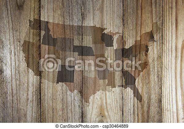 drewniany, mapa, stany, zjednoczony, tło - csp30464889