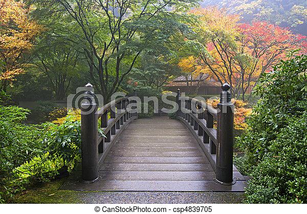 drewniany most, japoński ogród, upadek - csp4839705