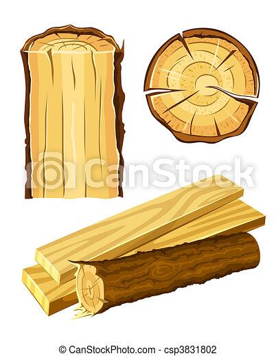 drewniany, tworzywo, drewno, deska - csp3831802