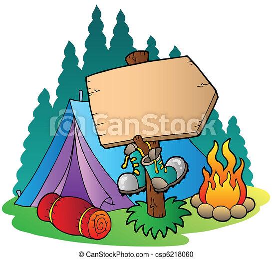 drewniany, znak, kemping namiot - csp6218060