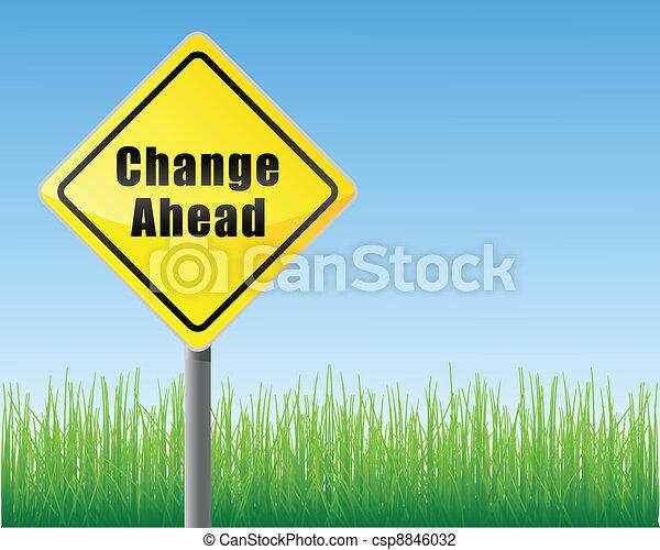droga, zmiana, na przodzie, znak - csp8846032