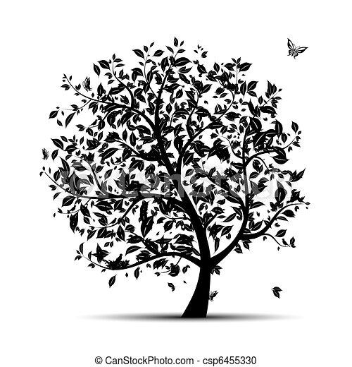drzewo, czarnoskóry, twój, sztuka, sylwetka - csp6455330