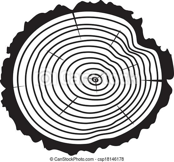 drzewo, drewniany, wektor, kloc, cięty - csp18146178
