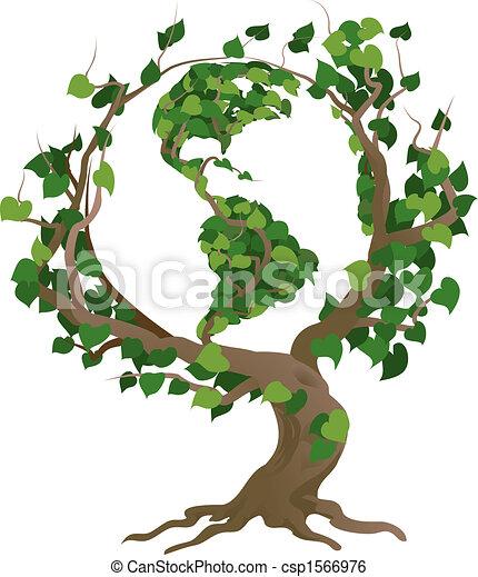 drzewo, ilustracja, wektor, świat, zielony - csp1566976