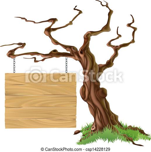 drzewo, ilustracja, znak - csp14228129