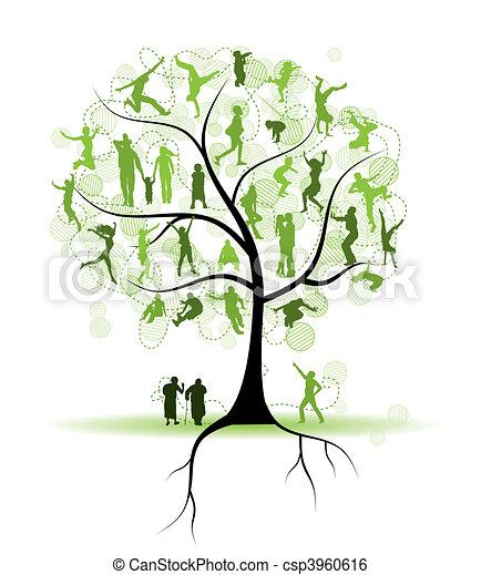 drzewo, sylwetka, krewni, rodzina, ludzie - csp3960616