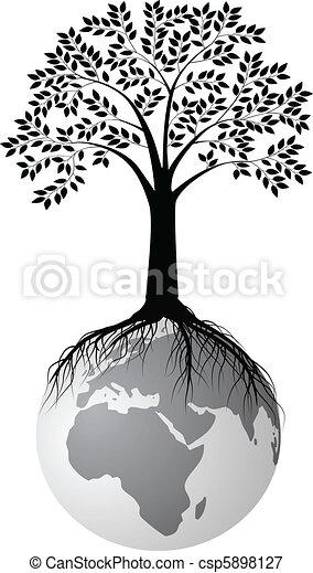 drzewo, sylwetka, ziemia - csp5898127