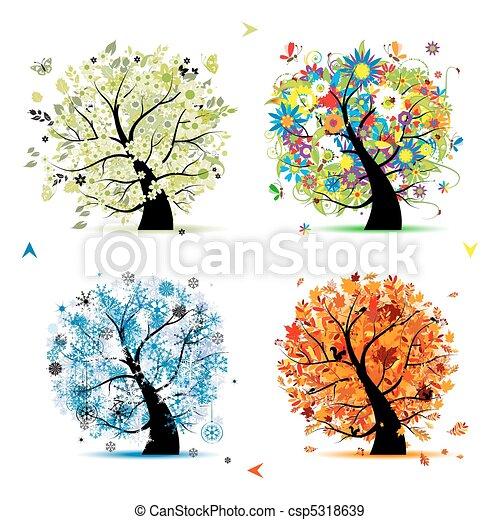 drzewo, twój, wiosna, winter., pory, -, jesień, lato, sztuka, cztery, projektować, piękny - csp5318639