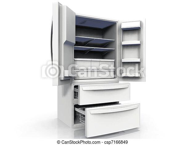 drzwi, podwójny, zamrażarka, kalesony, opróżniać, chłodnia - csp7166849