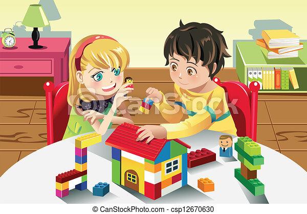 dzieciaki, interpretacja, zabawki - csp12670630