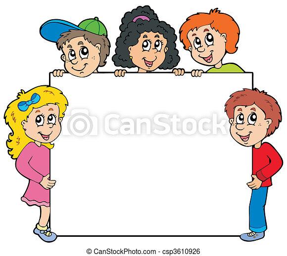 dzieciaki, różny, deska, dzierżawa - csp3610926