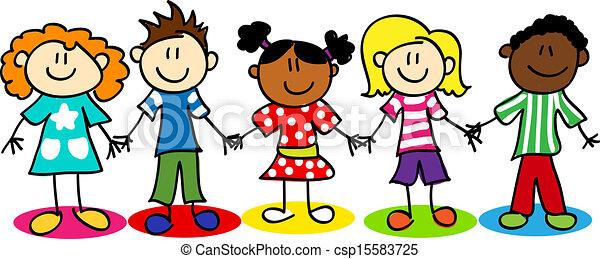 dzieciaki, rozmaitość, wtykać figurę, etniczny - csp15583725
