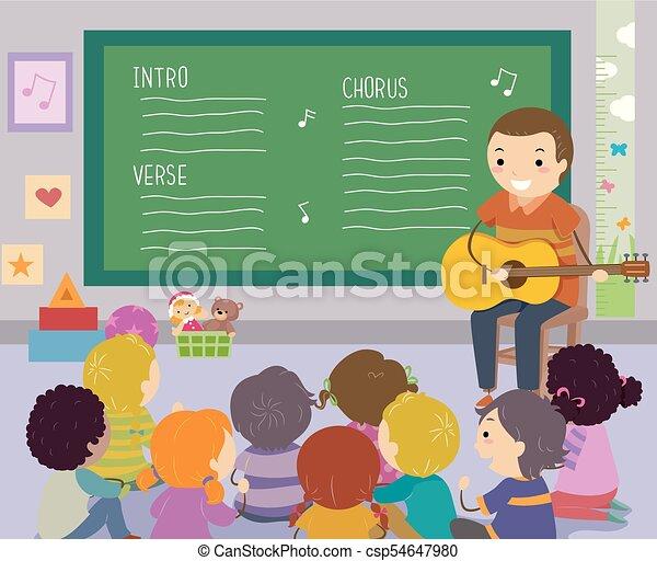 dzieciaki, stickman, nauczyciel, ilustracja, śpiew - csp54647980