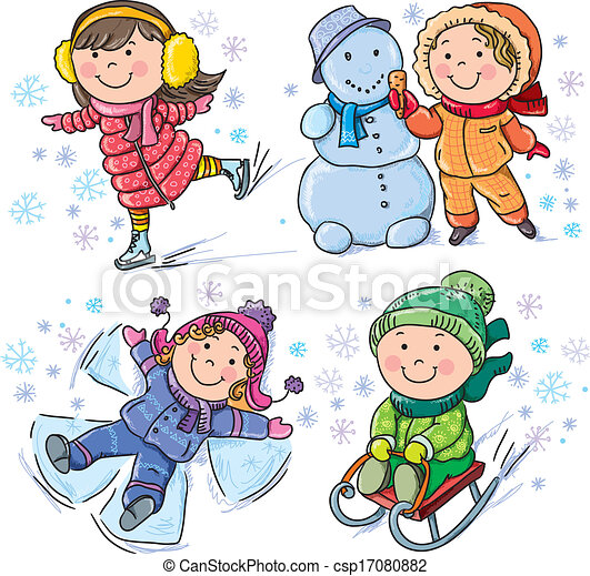 dzieciaki, zima - csp17080882
