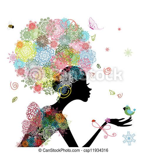 dziewczyna, fason, kwiaty - csp11934316