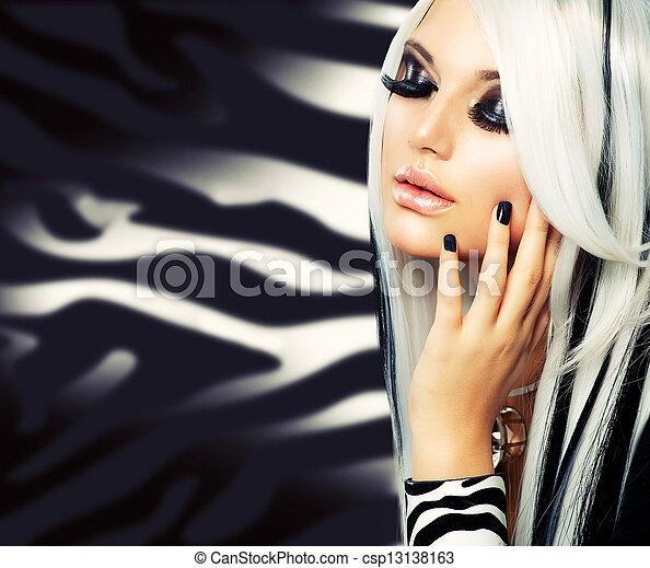 dziewczyna, fason, piękno, style., czarny włos, długi, biały - csp13138163