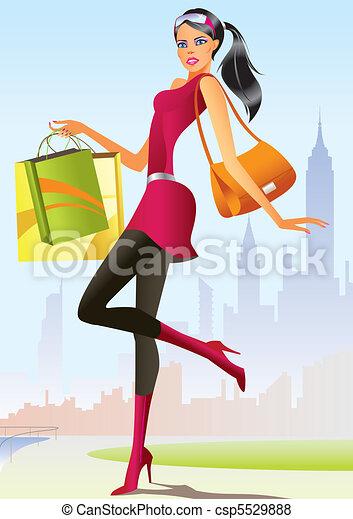 dziewczyna, fason, zakupy - csp5529888
