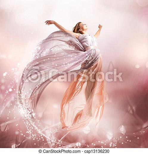 dziewczyna, flying., fairy., podmuchowy, magia, strój, piękny - csp13136230