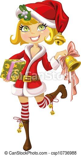 dziewczyna, garnitur, święty, blond, dzwon - csp10736988