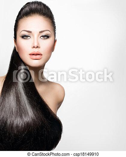 dziewczyna, włosiany fason, wzór, zdrowy, długi, prosty - csp18149910