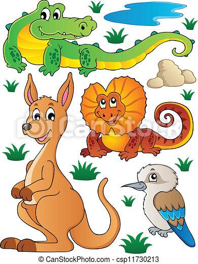 dziewiczość, australijski, 2, komplet, fauna - csp11730213