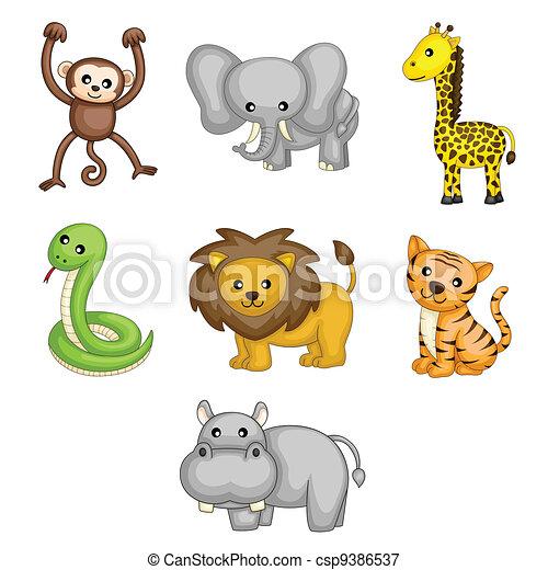 dzikie zwierzęta, rysunek - csp9386537