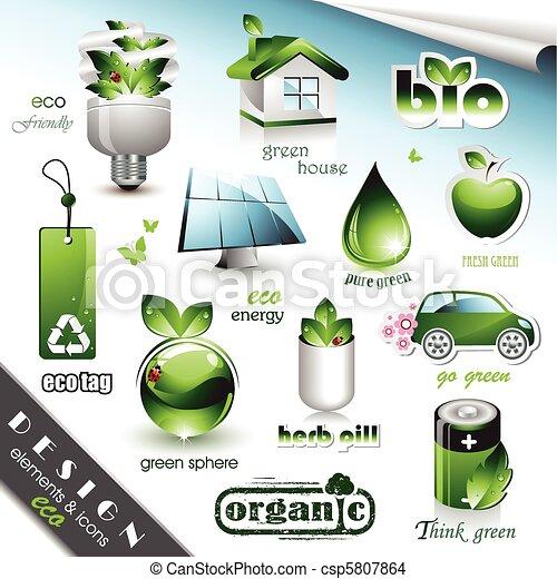 eco, elementy, ikony, projektować - csp5807864