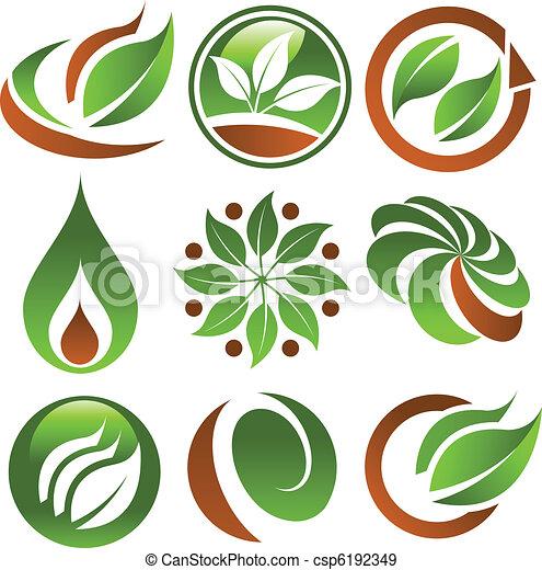 eco, zielony, ikony - csp6192349