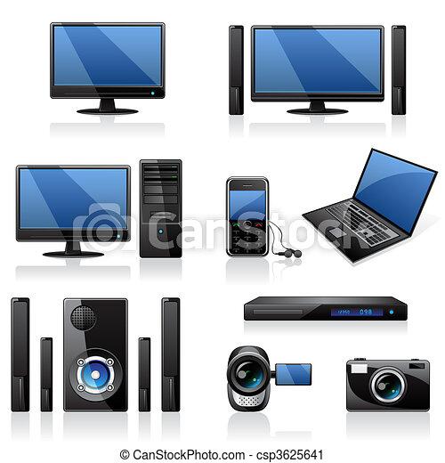 elektronika, ikony, komputery - csp3625641