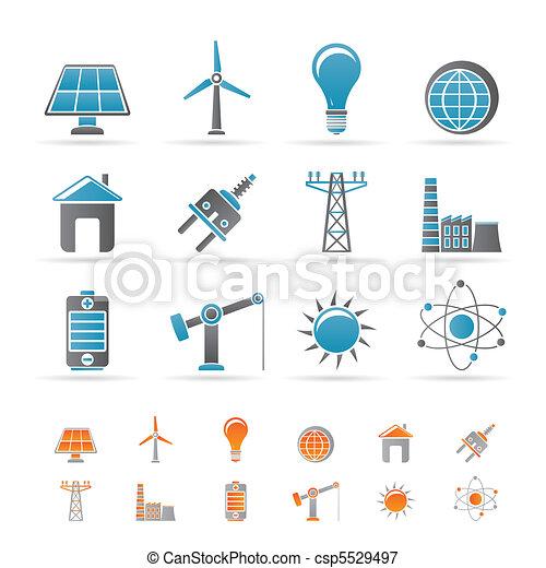 elektryczność, energia, moc, ikony - csp5529497
