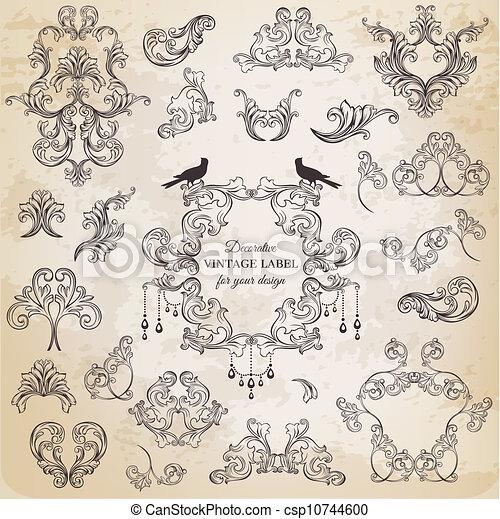 elementy, ozdoba, ułożyć, zbiór, calligraphic, wektor, projektować, rocznik wina, kwiaty, strona, set: - csp10744600