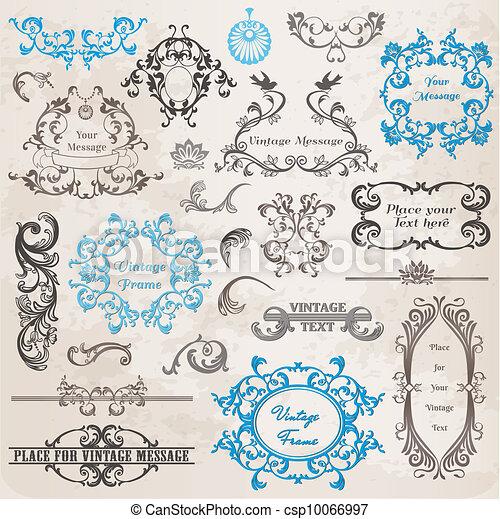 elementy, ozdoba, ułożyć, zbiór, calligraphic, wektor, projektować, rocznik wina, kwiaty, strona, set: - csp10066997