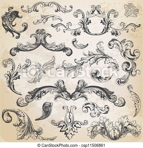 elementy, ozdoba, ułożyć, zbiór, calligraphic, wektor, projektować, rocznik wina, kwiaty, strona, set: - csp11506861