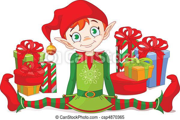 elf, gwiazdkowe dary - csp4870365
