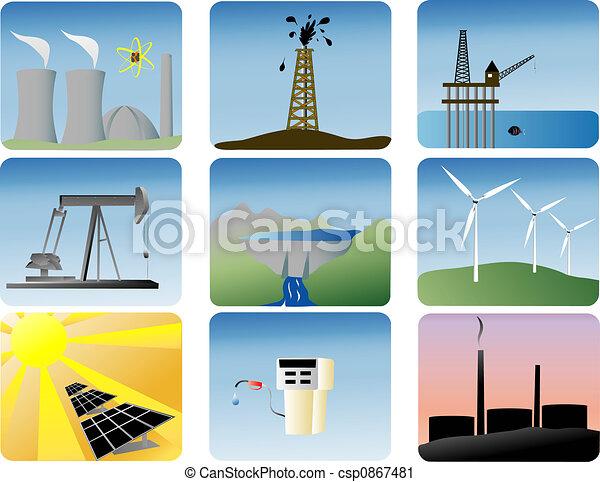 energia, komplet, ikony - csp0867481