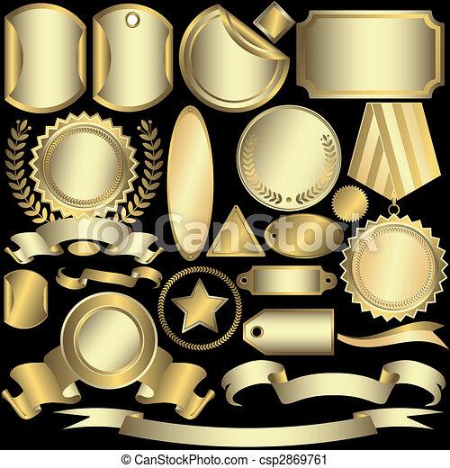 etykiety, złoty, (vector), komplet, srebrzysty - csp2869761