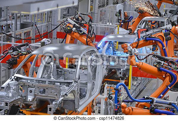 fabryka, roboty, spawalniczy - csp11474826