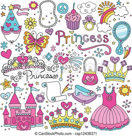 fairytale, wektor, tiara, komplet, księżna - csp12438371