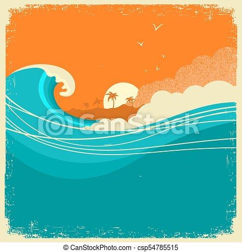 fale, motyw morski, papier, text., rocznik wina, stary, wyspa, afisz, ocean - csp54785515