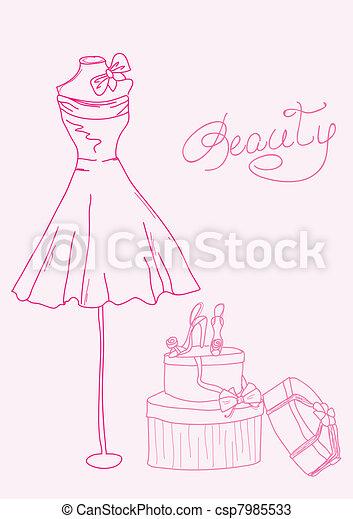 fason, obuwie, -, stylizowany, damski, doodles, strój - csp7985533