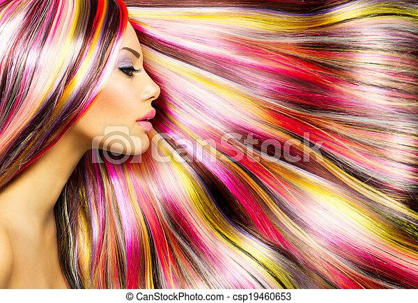 fason, piękno, barwny, farbowany włos, wzór, dziewczyna - csp19460653