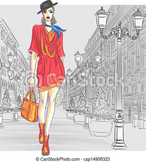 fason, st., wektor, pociągający, idzie, dziewczyna, petersburg - csp14908323