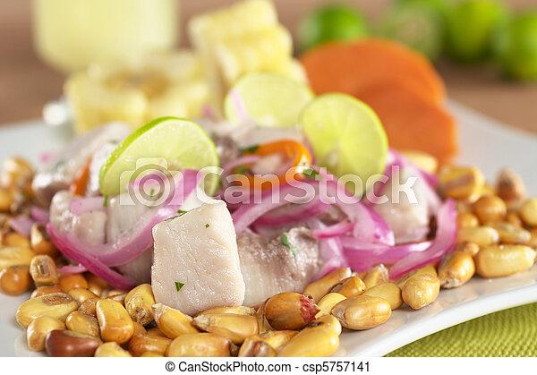 fish, surowy, upieczony, poza, (peruvian, mahi-mahi, swe, aji, gorący, (spanish:, czerwony, nagniotek, ceviche, obsłużony, perico), pepper), robiony, cebule, peruvian-style, lipy, dobrze, gotów, łabędź, (cancha) - csp5757141