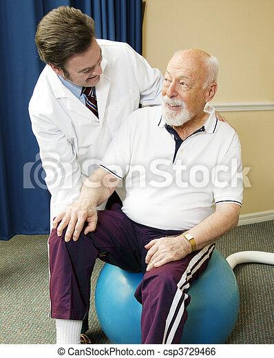 fizykoterapia, człowiek, senior, dostając - csp3729466