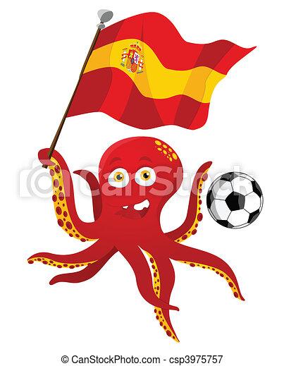 flag., gracz, dzierżawa, piłka nożna, ośmiornica, hiszpania - csp3975757