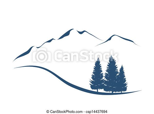 góry, pokaz, ilustracja, stylizowany, jodły, krajobraz, alpejski - csp14437694