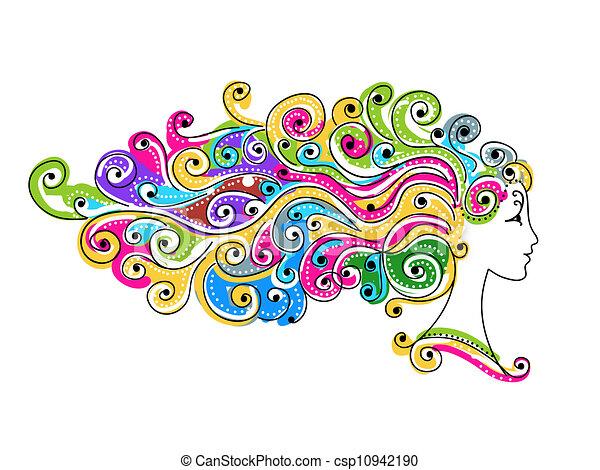 głowa, barwny, fryzura, abstrakcyjny zamiar, samica, twój - csp10942190
