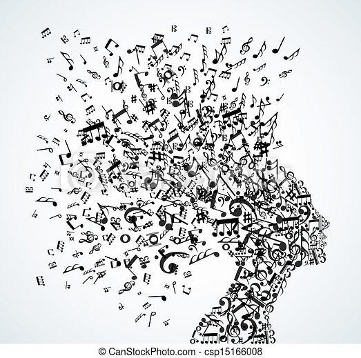 głowa, bryzg, muzyka notatnik, kobieta - csp15166008