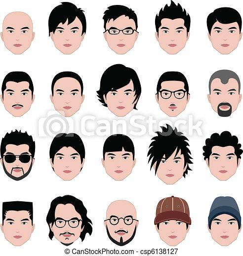 głowa, fryzura, twarz, włosy, samiec, człowiek - csp6138127